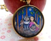 Wolf pack necklace wolf jewelry jewellery wolves necklace whimsical folk art pendant wolf pack bronze setting gift for wolf lover friend
