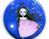 Flying Girl with Butterflies Pocket Mirror whimsical folk art stocking stuffers birthday party favours