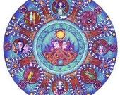 Gemini Astrology Mandala Art Greeting Card June birthday greeting zodiac art mandalas twins meditation yoga geometric