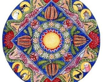 Wildflowers Landscape Mandala Art Print yoga wall decor garden wall meditation decor