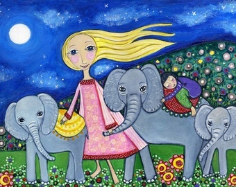 Baby Elephants Art Print - 'Orphans' - Nursery Art - Childrens Wall decor - Whimsical Folk Art - Dream Series - Naive Style