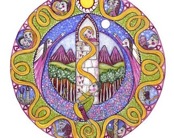 rapunzel fairy tale mandala art print whimsical folk style childrens wall decor geometric art childrens story