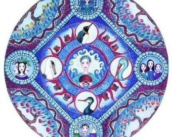 Aquarius Astrology Mandala Art Card blank birthday card for February gift for friend water bearer zodiac sign art