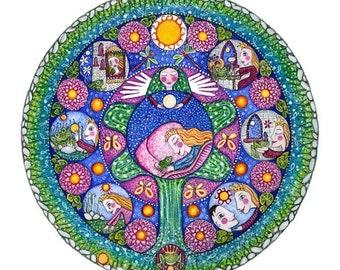 Frogprince Fairy Tale Mandala Art Print