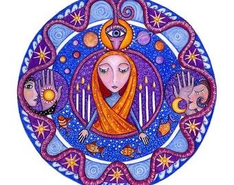The High Priestess Tarot Mandala Print tarot wall art art for meditation major arcana tarot deck mandalas