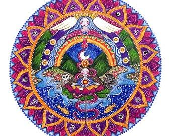 Crown Chakra Mandala art print 7th chakra sahasrara chakra art yoga wall art meditation art inspirational healing wall decor.