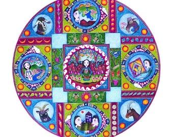Capricorn Astrology Mandala Print zodiac art January Birthday painting print wall decor astrology poster gift to friend whimsical garden art