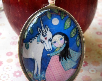Unicorn Necklace Princess and Unicorn Jewelry Jewellery Unicorn Art Gift for Little Girl Gift for Friend Whimsical Folk Art Oval Pendant
