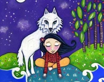 """White wolf art print girl whimsical folk fantasy childrens wall decor illustration by Lindy Longhurst - 'White Wolf"""""""