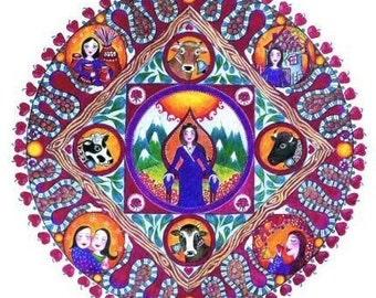 Taurus art astrology mandala print cows zodiac wall art meditation May birthday yoga decor healing inspirational art