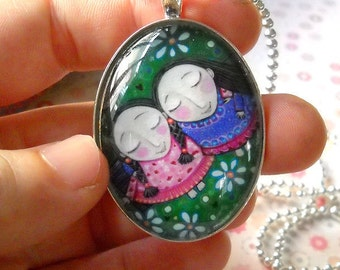 Two friends Art Necklace Jewelry Best Friends Oval Pendant Gift for Friend Twins Jewellery Silver Plated Friendship Pendant Whimsical Art