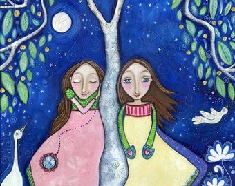 Two Girls Sisters Twins Art Print best friends friendship childrens room decor tree painting parallel reality whimsical folk art - Parallel