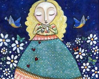 "Blonde girl folk art painting mixed media whimsical art print birds bluebirds inspirational wall decor art for bedroom- ""Words Have Wings"""