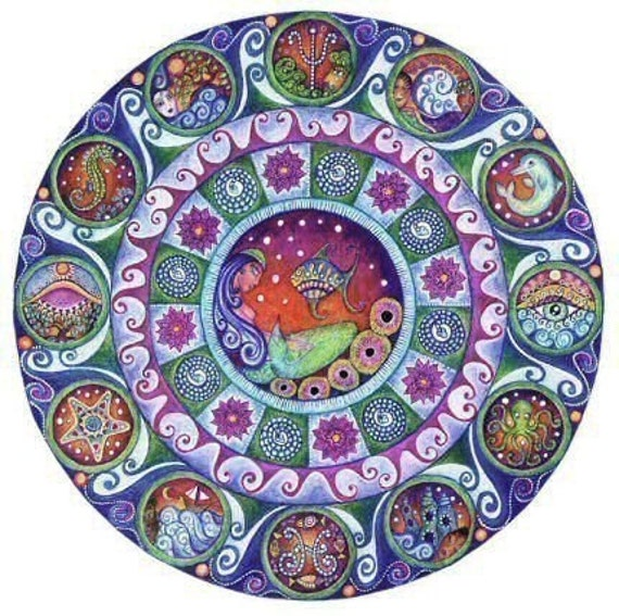 Pisces art mandala astrology zodiac greeting by LindyLonghurst