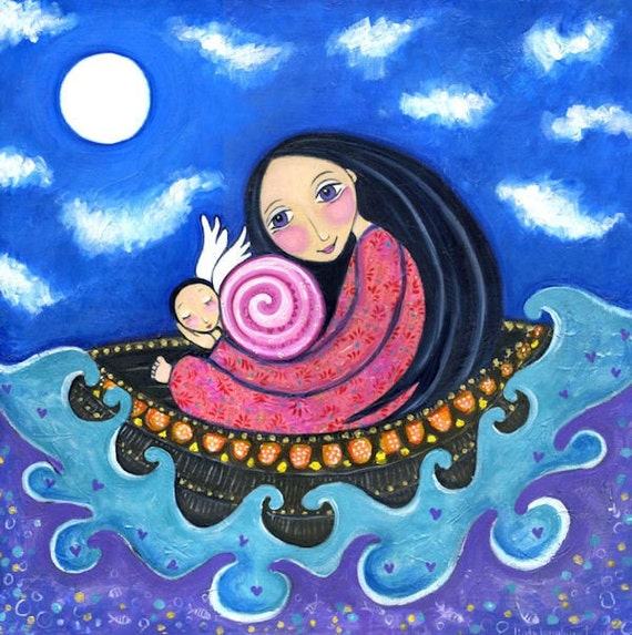 Items Similar To Nursery Art Print Whimsical Folk Art