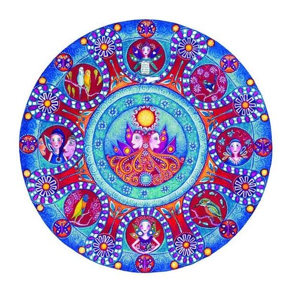 Gemini astrologie mandala imprimer anniversaire cadeau du - Mandala anniversaire ...