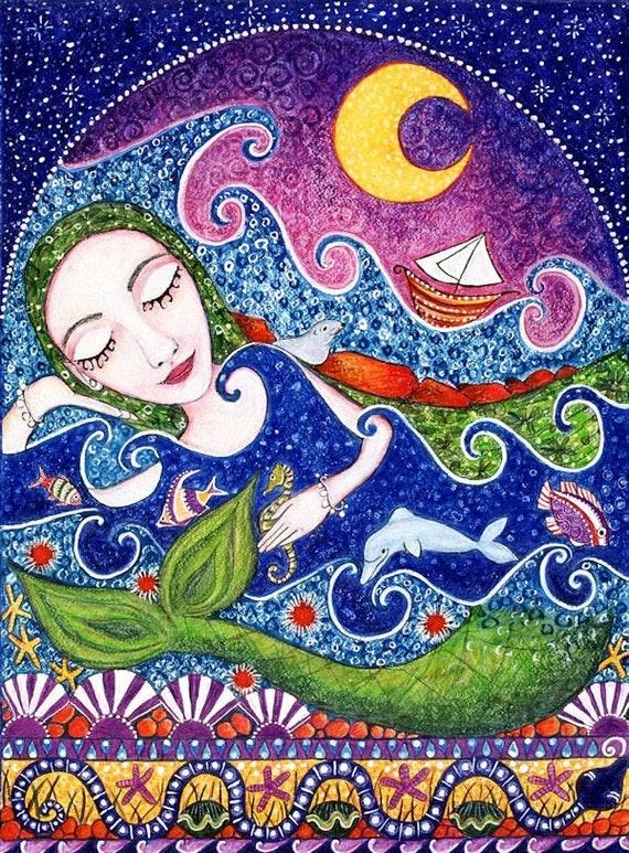 Mermaid Art Print Whimsical Folk Art Sea Maid Mermaid Art For