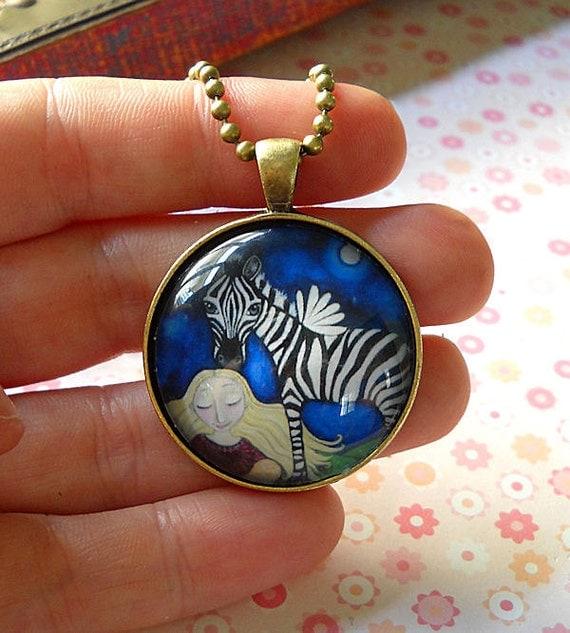 "Girl With Zebra Necklace Gift for Zebra Lover Bronze Pendant gift for friend present for sister zebra art jewelry - ""Peacemaker"""