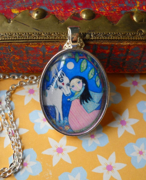 Unicorn and Princess Necklace - Glass Tile Oval Pendant with Vintage Silver Plated Setting and Cable Chain - 'Honesty'