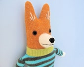 Long Skinny Orange Boy Dog in Striped Sweater
