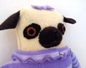 Pug in Tutu and Sweater wool doll