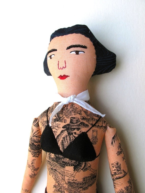 Tattooed Lady doll with Skeletons