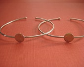 Two solid  Sterling Silver single disc cuff bracelet blanks for jewelry making