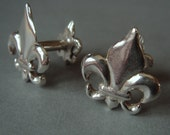 Sterling CUFFLINKS with Two Fleur DeLis