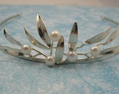 Wedding Tiara Pearl  Sterling Leaves