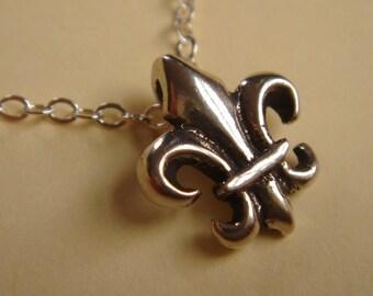 Petite Fleur d lis neckace sterling silver