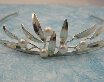 SALE! Wedding Tiara Pearl  Sterling Leaves