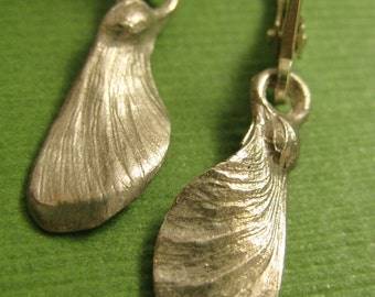 Sterling Japanese Maple seed helicopter pod fairy wing earrings