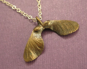 Bronze Maple seed pod Helicopter Sterling necklace