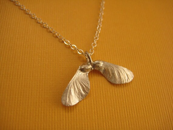 Maple seed pod Helicopter Sterling necklace