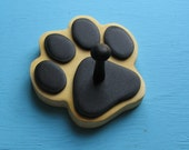 Leash Holder Yellow Cream Dog - Wood Paw Print Peg Hook