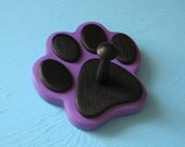 Dog Leash Holder PURPLE - Wood Paw Print Peg Hook
