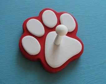 Dog Leash Holder RED - Wood Paw Print Peg Hook SANTA PAWS