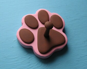 Dog Leash Holder PiNK - Wood Paw Print Peg Hook