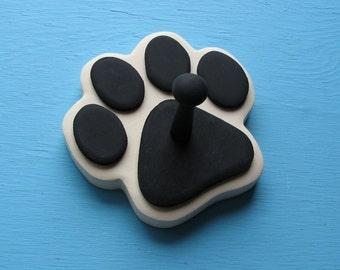 Leash Holder CREAM Antique White Dog - Wood Paw Print Peg Hook
