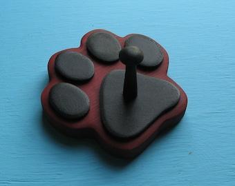 Leash Holder RED Dog - Wood Paw Print Peg Hook