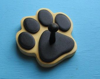 Leash Holder Yellow Cream Dog - Wood Paw Print Peg Hook