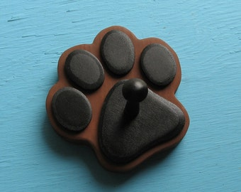Dog Leash Holder Choc BROWN - Wood Paw Print Peg Hook