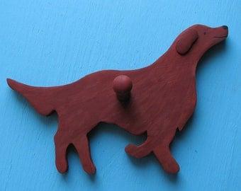 SALE Irish Setter Red Dog Handpainted Wood Leash Holder