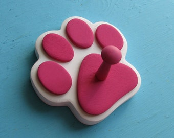 Dog Leash Holder MAGENTA PINK - Wood Paw Print Peg Hook