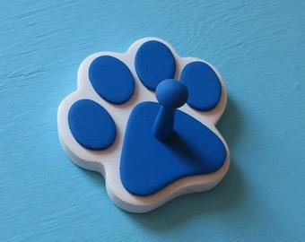 Dog Leash Holder BLUE - Wood Paw Print Peg Hook