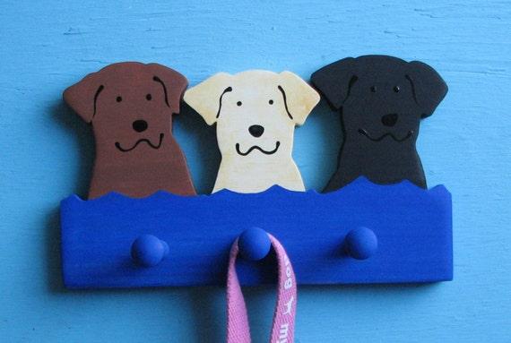 Labrador Retriever Multi Dog Wood Leash Holder