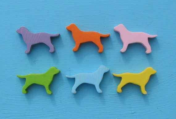 Pastel Puppy Parade Mini Rustic Wood Dog Decoration