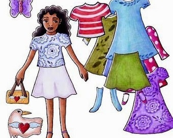 Therese printable  dress up paperdoll print and cut and color