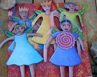 Five fairies printable paper-doll pdf download