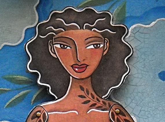 Large Caribbean Mermaid Paper-doll handmade